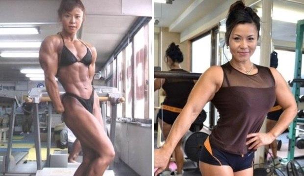 Aos 47 anos, fisiculturista japonesa exibe<br />forma impressionante. Veja mais imagens