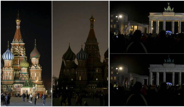 Moscou e Berlim ficam às escuras em ato pela conscientização das mudanças climáticas