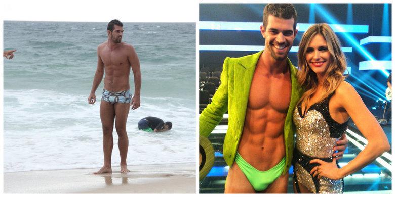 Ao contrário de seu personagem no programa Amor e Sexo, Bruno Miranda usou uma sunga discreta para curtir a praia nesta terça-feira (21)