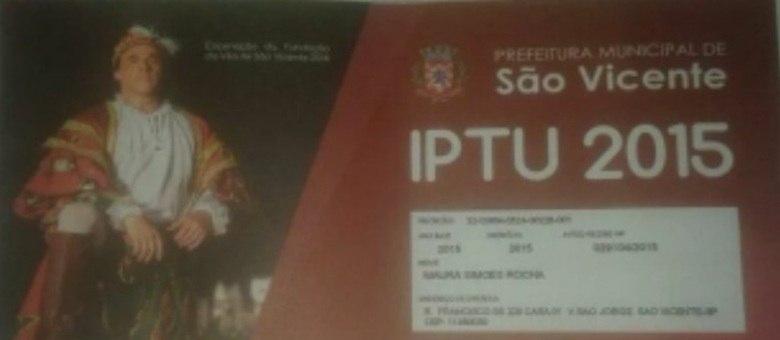 Oscar Magrini aparece  carnê de IPTU de São Vicente e processa prefeitura da cidade