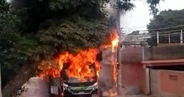 Ônibus pega fogo em São João de Meriti, na Baixada Fluminense ...