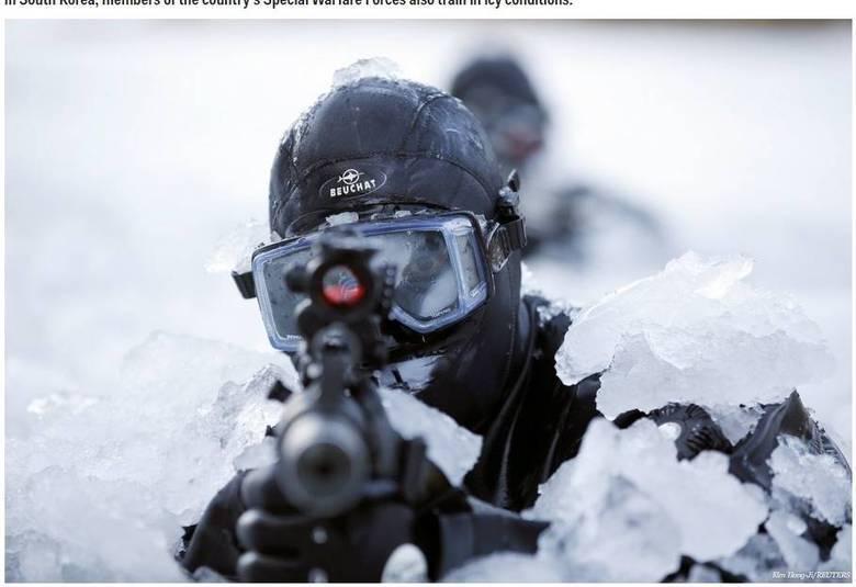 Na Coréia do Sul, os membros das Forças de Especiais do país também treinam no gelo
