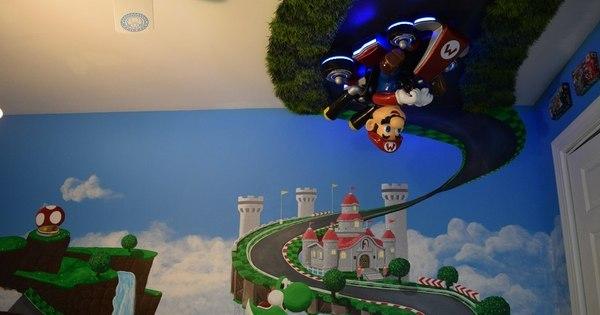 Fã de Nintendo, pai constrói quarto com decoração de Mario Kart ...