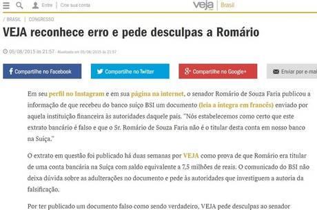 * Revista Veja reconhece erro e pede desculpas a Romário.