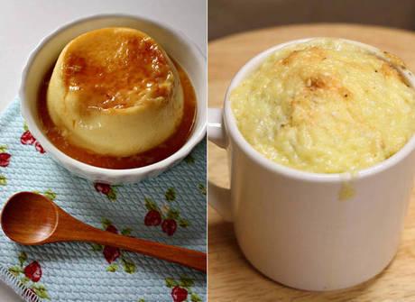 Aprenda a preparar pudim de leite e pão de queijo na caneca