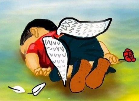 Desenhos homenageiam menino refugiado morto na praia