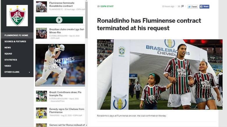 No Reino Unido, a ESPN falou sobre a quebra de contrato (mais uma!) de Ronaldinho Gaúcho com o Fluminense