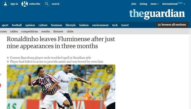 Na Inglaterra, a crítica mais pesada veio através do The Guardian, que lembrou os nove jogos em que Ronaldinho atuou (ou tento) pelo Fluminense
