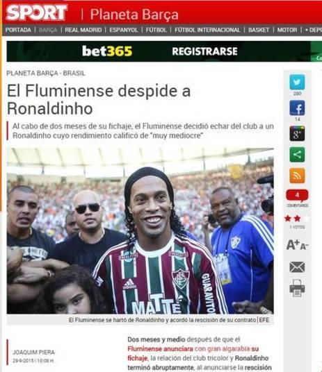 No catalão Sport, destaque para a 'despedida' de Fluminense para Ronaldinho Gaúcho, que tinha contrato até 2016 com o time carioca