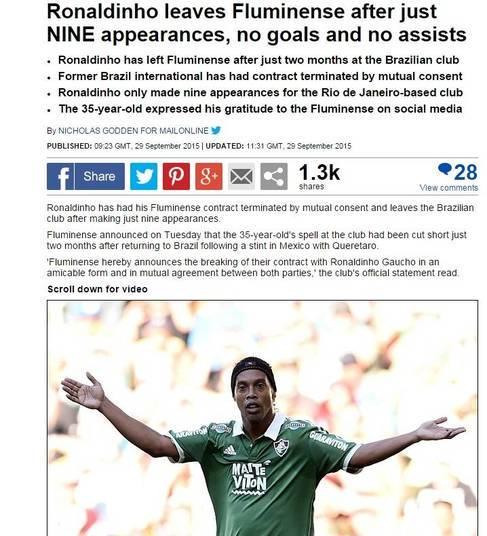 Também na Inglaterra, o Daily Mail colocou em sua manchete a ausência de gols na curta passagem de Ronaldinho pelo Fluminense
