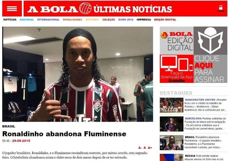 Em Portugal, o destaque maior veio do popular A Bola, que também tratou o desfecho de R10 no Fluminense como melancólico