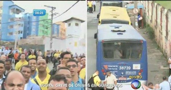 Greve impede saída de ônibus da garagem em Guarulhos - Fotos ...
