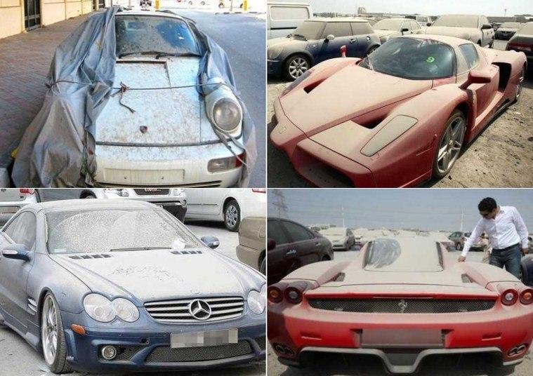Que desperdício! Milionários em crise abandonam vários carros luxuosos em Dubai