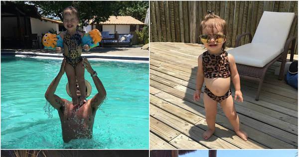 Em família! Ceará e Mirella Santos curtem férias com a filha na Bahia