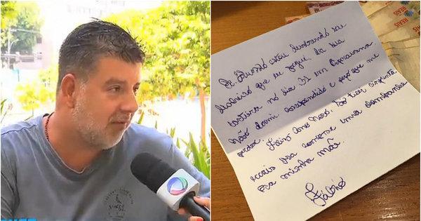 """Homem devolve dinheiro roubado no Ano-Novo: """"Só tirei R$ 50 ..."""