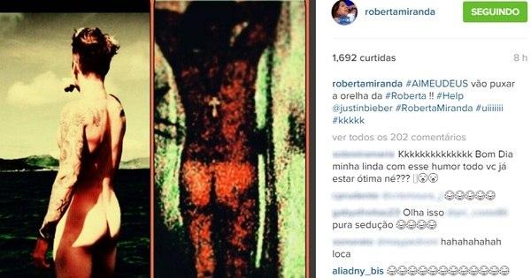 Roberta Miranda se inspira em Bieber e mostra bumbum no Instagram