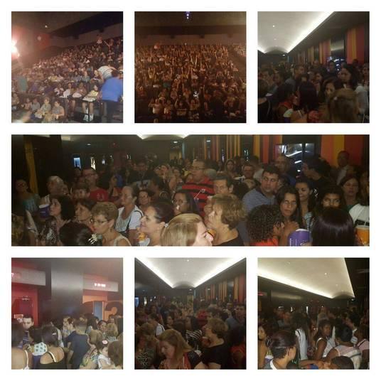 As imagens das salas cheias foram divulgadas pelos próprios complexos de cinema. No destaque, as salas de cinema em Mogi Guaçu (SP)