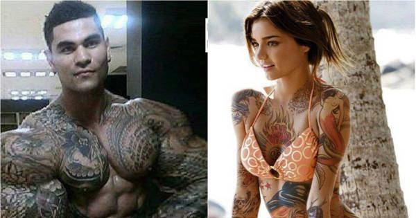 Isso é sério? Casal com o corpo todo tatuado dá à luz um camaleão ...