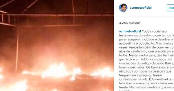 Banheiros químicos são queimados no bairro da Boca do Rio ...