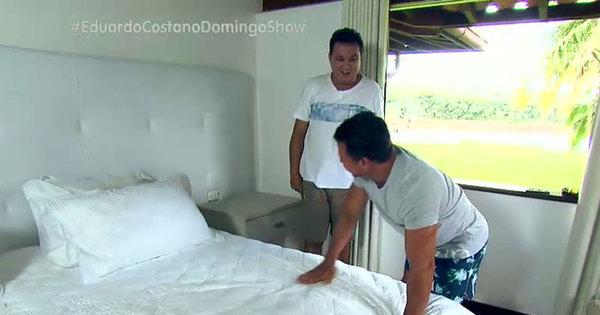 """Eduardo Costa revela que famosas já visitaram seu quarto: """"Aqui é ..."""