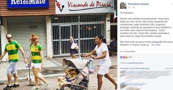Foto de casal protestando com babá causa polêmica no Facebook ...