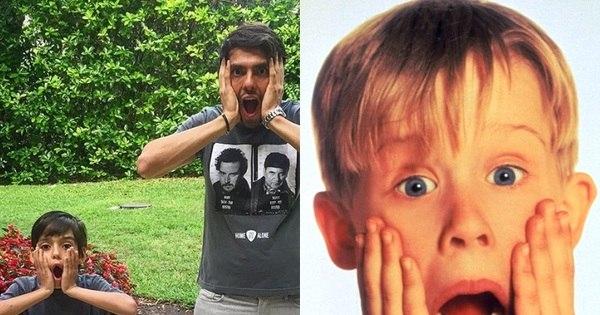 Que fofura! Kaká e o filho imitam cena do filme Esqueceram de Mim ...