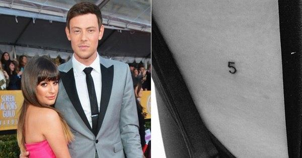 Lea Michele faz tatuagem de Glee em homenagem a Corey Monteith
