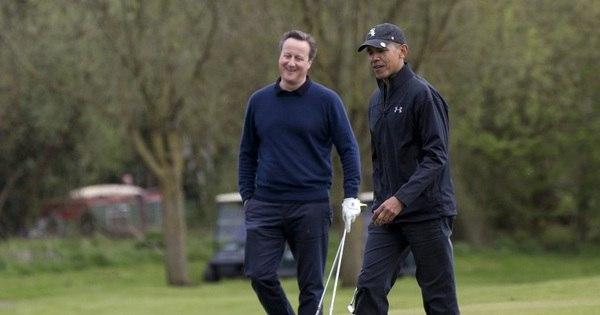 Obama e Cameron jogam golfe enquanto debatem permanência ...