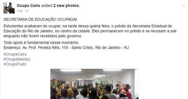 Alunos ocupam Secretaria de Educação do RJ - Notícias - R7 Rio ...