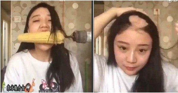 Chinesa faz vídeo comendo milho com furadeira e fica careca