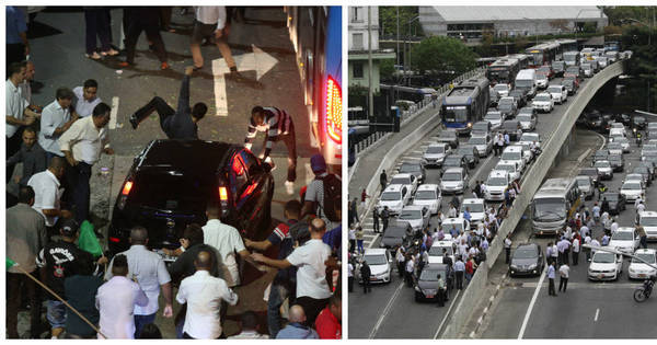 Taxistas atacam carros e fecham avenidas em protesto contra ...