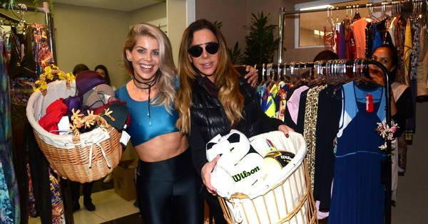 Karina Bacchi e Cristiana Arcangeli fazem bazar beneficente em ...