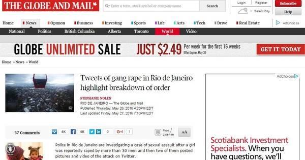 Estupro coletivo no Rio ganha destaque na imprensa internacional ...