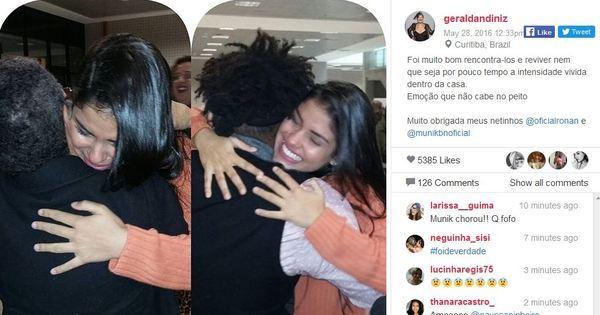 Munik chora ao abraçar Dona Geralda e Ronan em Curitiba ...
