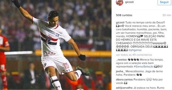 """Mulher de Paulo Henrique Ganso comemora convocação """"merecida ..."""