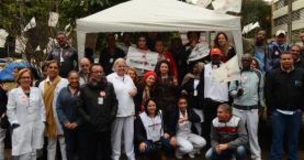 Servidores em greve do Hospital das Clínicas montam ...
