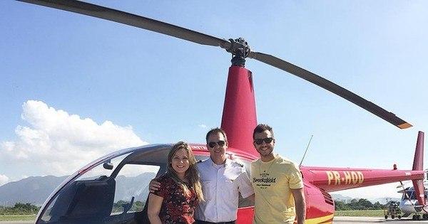 Cacau e Matheus passeiam de helicóptero no Rio - Entretenimento ...