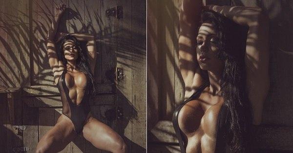 Gracyanne Barbosa mostra os músculos em ensaio sensual ...