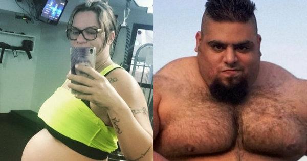 """Rebeca Gusmão malhando aos nove meses de gravidez e """" Hulk ..."""
