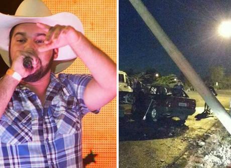 Carro do sertanejo Pedro Lima<br />fica destruído após acidente