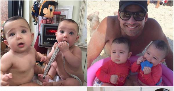 Gêmeas de Thierry Figueira completam um ano de muita fofura ...