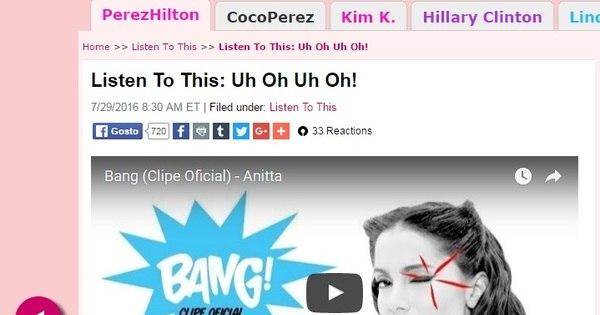 """Blogueiro americano Perez Hilton fala sobre Anitta: """"Ela é tipo a ..."""