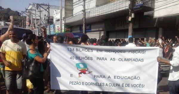 Protesto marca passagem da tocha olímpica por São Gonçalo ...
