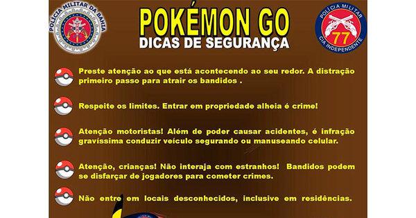 """CIPM alerta sobre os perigos do Pokémon Go: """" Divirta- se, mas não ..."""