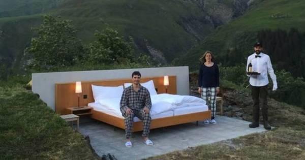 O quarto de hotel sem paredes nem teto nos Alpes suíços - Fotos ...