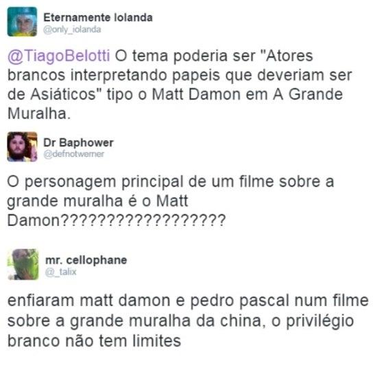 A escalação de Damon foi bastante criticada nas redes sociais
