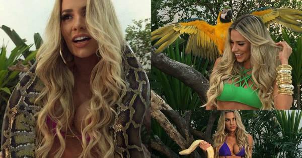 Adriana Sant'Anna posa de biquíni com animais selvagens para ...