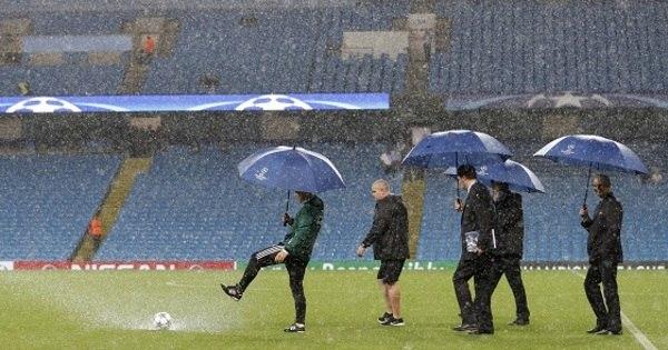 Chuva forte cancela jogo do Manchester City na Liga dos Campeões