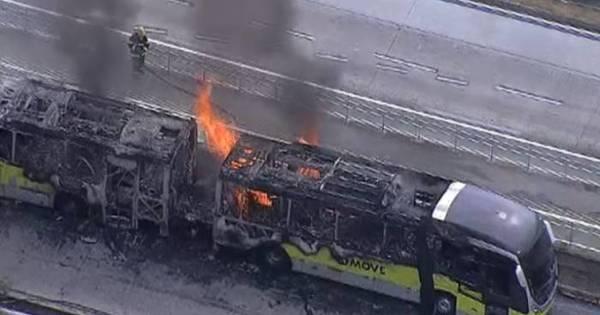 Ônibus BRT Move pega fogo com 100 passageiros em BH - Notícias ...