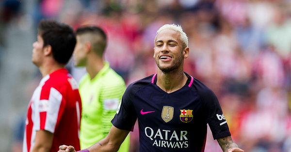 Sem Messi, Neymar marca dois e lidera goleada do Barcelona ...